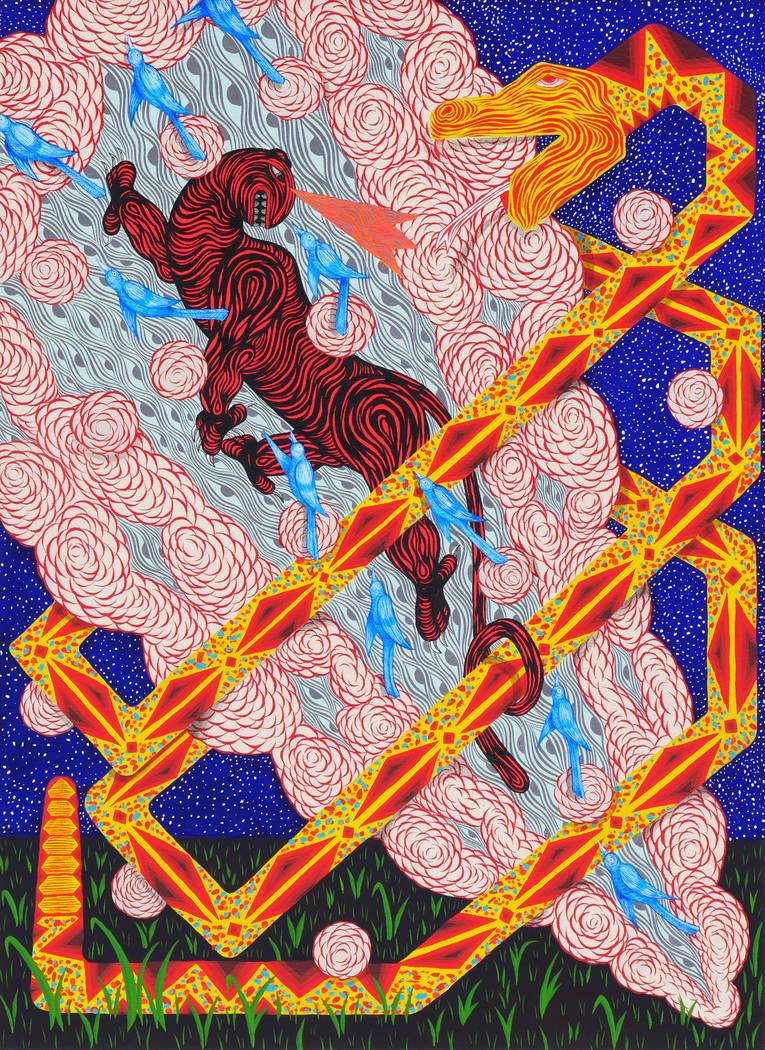 """Artist Andrew Schoultz's """"Burst of Air,"""" part of his new exhibit at UNLV's Marjorie Barrick Museum, opening June 2."""