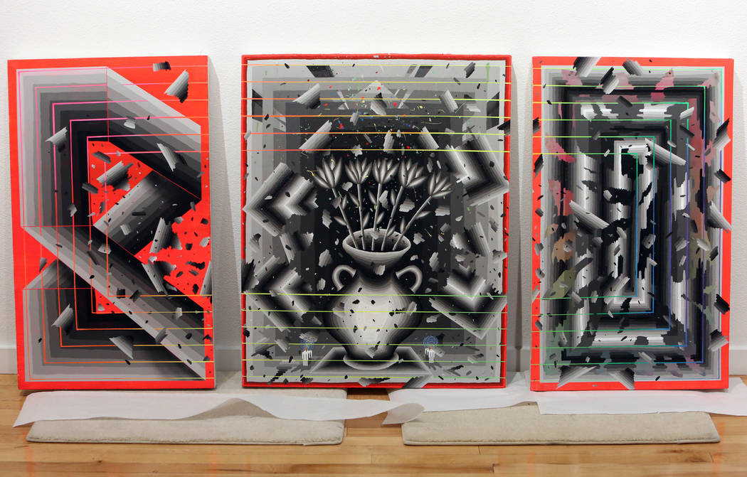 Los Angeles-based artist Andrew Schoultz's art works are ready to be displayed on Friday, May 25, 2018 for Schoultz's upcoming exhibit at the UNLV Marjorie Barrick Museum of Art in Las Vegas. Bizu ...