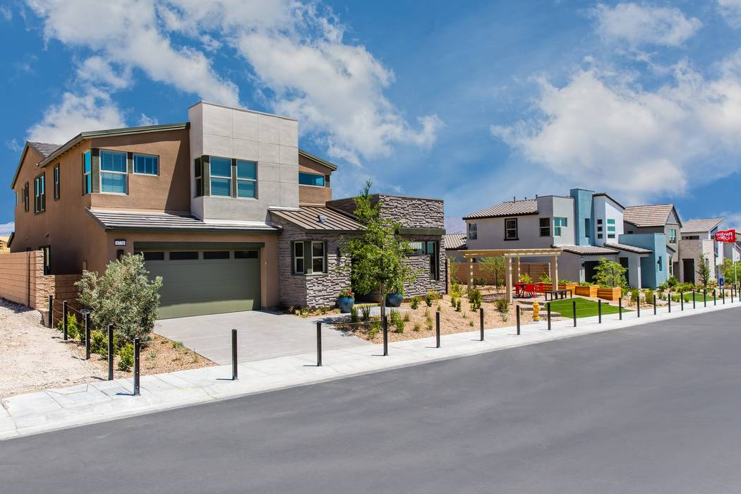 Shown are model homes at Pardee Homes' Onyx in Skye Canyon, which is celebrating its grand opening June 2 from 10 a.m. to 2 p.m. (Pardee Homes)