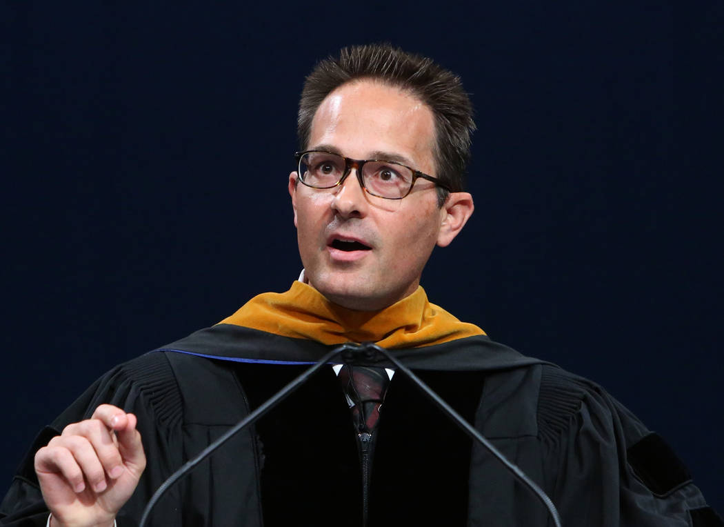 Chancellor of Western Governors University of Nevada, Dr. Spencer Stewart, speaks during the master's degree graduation ceremony at the Thomas & Mack Center on Saturday, June 2, 2018, in Las V ...