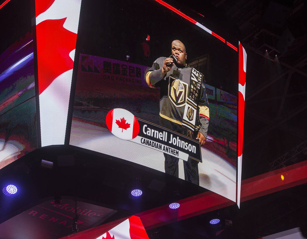 Carnell Johnson, AKA Golden Pipes, performs the Canadian anthem before the start of the NHL Western Conference Finals between the Golden Knights and Winnipeg Jets on Friday, May 18, 2018, at T-Mob ...