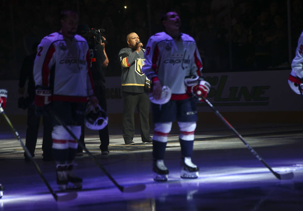 Carnell Johnson sings the national anthem before the start of Game 1 of the NHL hockey Stanley Cup Final at the T-Mobile Arena in Las Vegas on Monday, May 28, 2018. Chase Stevens Las Vegas Review- ...