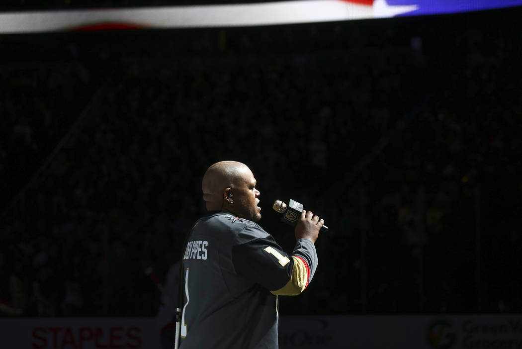 Carnell Johnson sings the national anthem before the start of Game 2 of the NHL hockey Stanley Cup Final between the Golden Knights and the Washington Capitals at the T-Mobile Arena in Las Vegas o ...