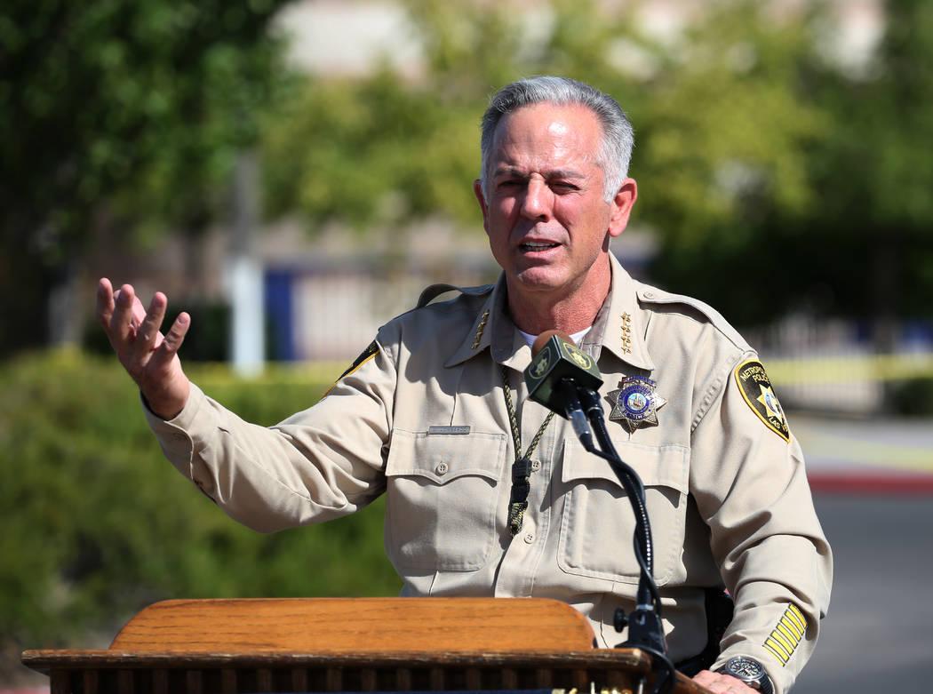 Sheriff Joe Lombardo addresses the media prior to the start of a mass shooting drill at Shadow Ridge High School on Wednesday, May 30, 2018, in Las Vegas. Bizuayehu Tesfaye/Las Vegas Review-Journa ...