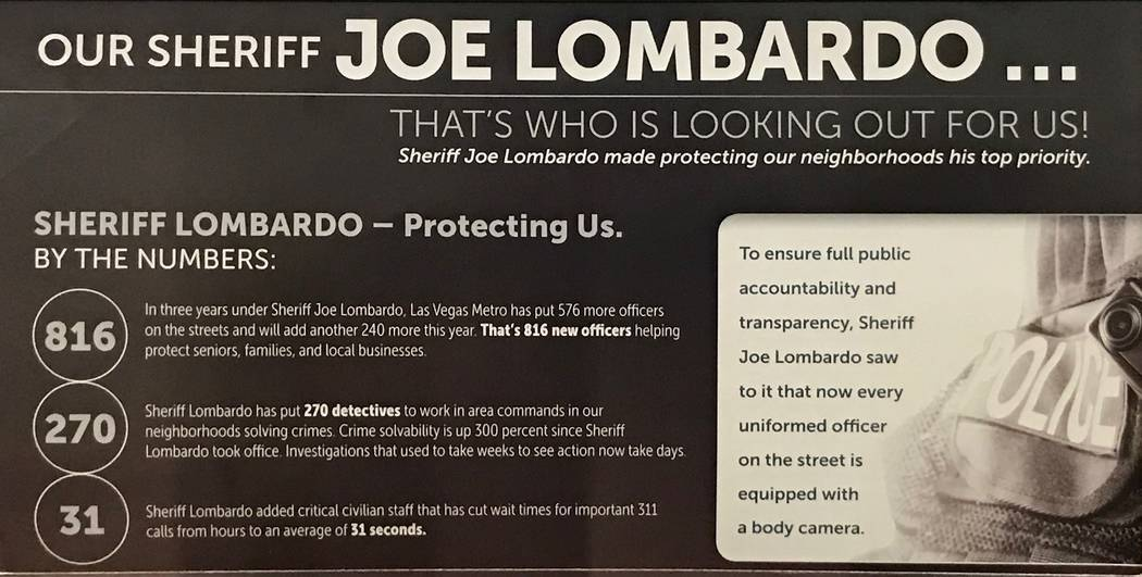 Mailer for Clark County Sheriff Joe Lombardo's 2018 re-election campaign.
