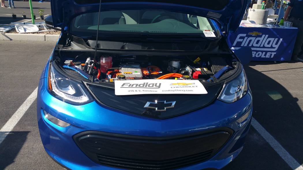 Under the hood of a Chevrolet Bolt EV electric car exhibited by Findlay Chevrolet.