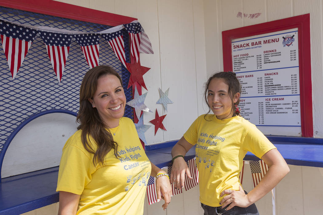 "Felicia Nakhla, left, and her niece Alexandra Elliott, 16, at Sunset Park in Las Vegas, Tuesday, May 29, 2018. Nakhla and Elliott are are preparing to host their fifth lemonade ""grandstand&qu ..."
