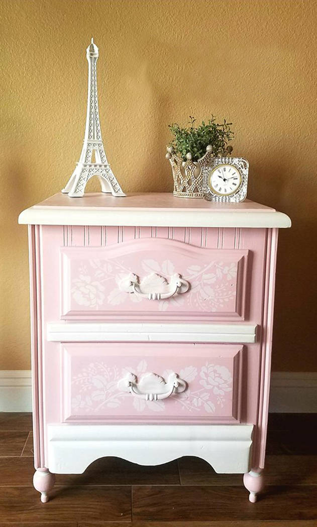 Old to Ooh La La This pink nightstand with white stenciled roses would work well in a young girl's room.