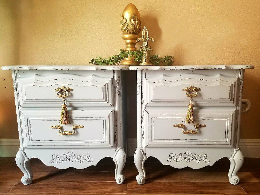 Old to Ooh La La This pair of nightstands was refinished in soft gray with gold hardware by Victoria Konhorst of Old to Ooh La La.