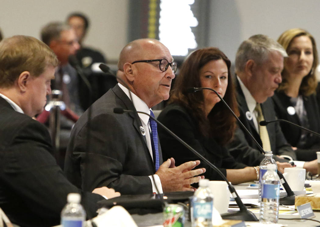 Rossi Ralenkotter, second left, CEO of the Las Vegas Convention and Visitors Authority, speaks as Cathy Tull, center, senior vice president of marketing at LVCVA, looks on during the LVCVA board o ...