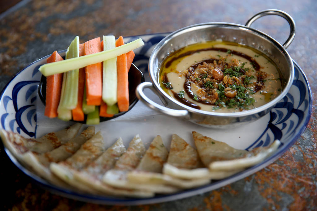 Miso Black Garlic Hummus at Flock & Fowl DTLV located inside The Ogden at Ogden Avenue and Las Vegas Boulevard in downtown Las Vegas Saturday, May 26, 2018. K.M. Cannon Las Vegas Review-Journa ...