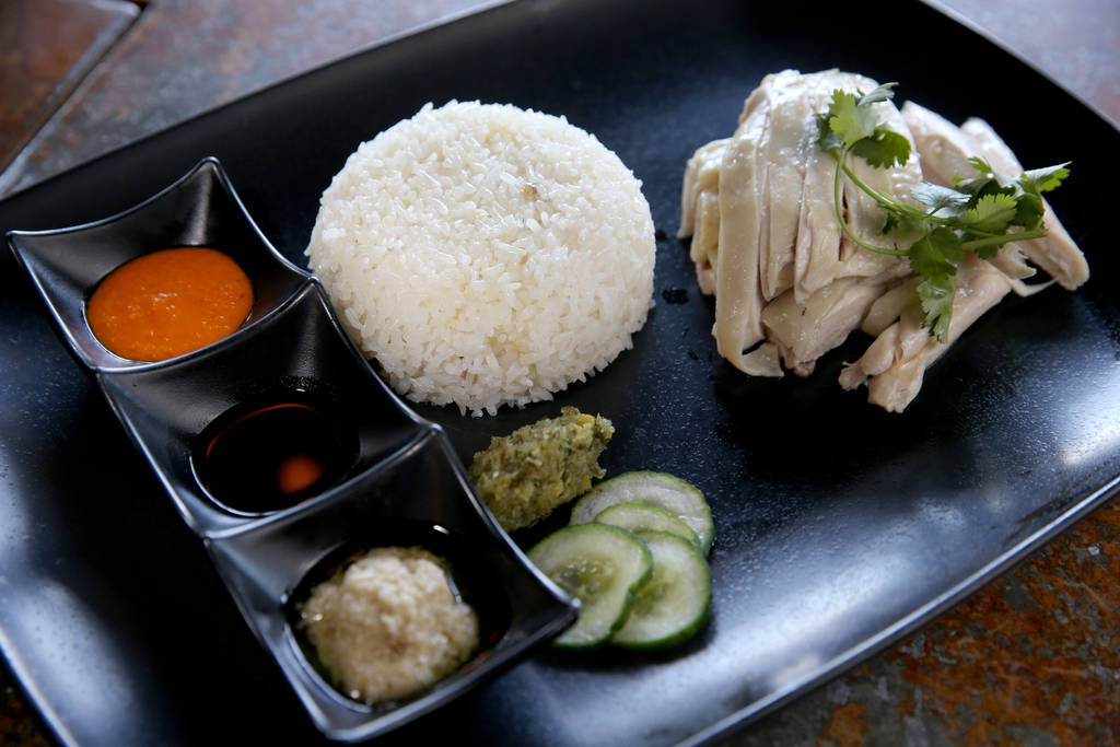 Hainanese Chicken Rice at Flock & Fowl DTLV located inside The Ogden at Ogden Avenue and Las Vegas Boulevard in downtown Las Vegas Saturday, May 26, 2018. K.M. Cannon Las Vegas Review-Journal ...