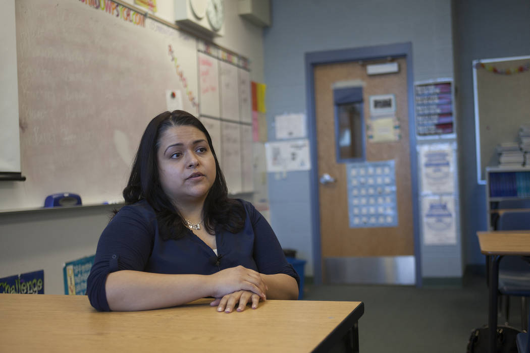 Danielle Jones, a teacher and behavioral specialist at Shadow Ridge High School, talks to the Review-Journal at her classroom at Shadow Ridge High School in Las Vegas, Thursday, May 3, 2018. Jones ...