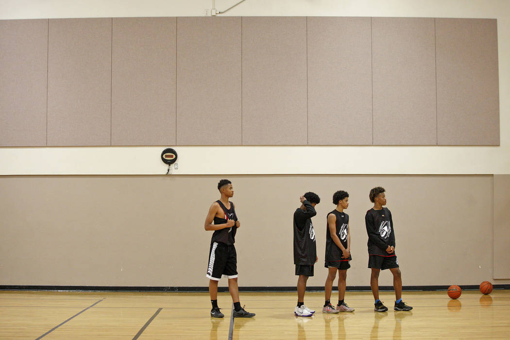 D'Andre Burnett, center, waits to start a drill in basketball practice for the LV Stars at the Chuck Minker Sports Complex in Las Vegas, Tuesday, May 8, 2018. Rachel Aston Las Vegas Review-Journal ...