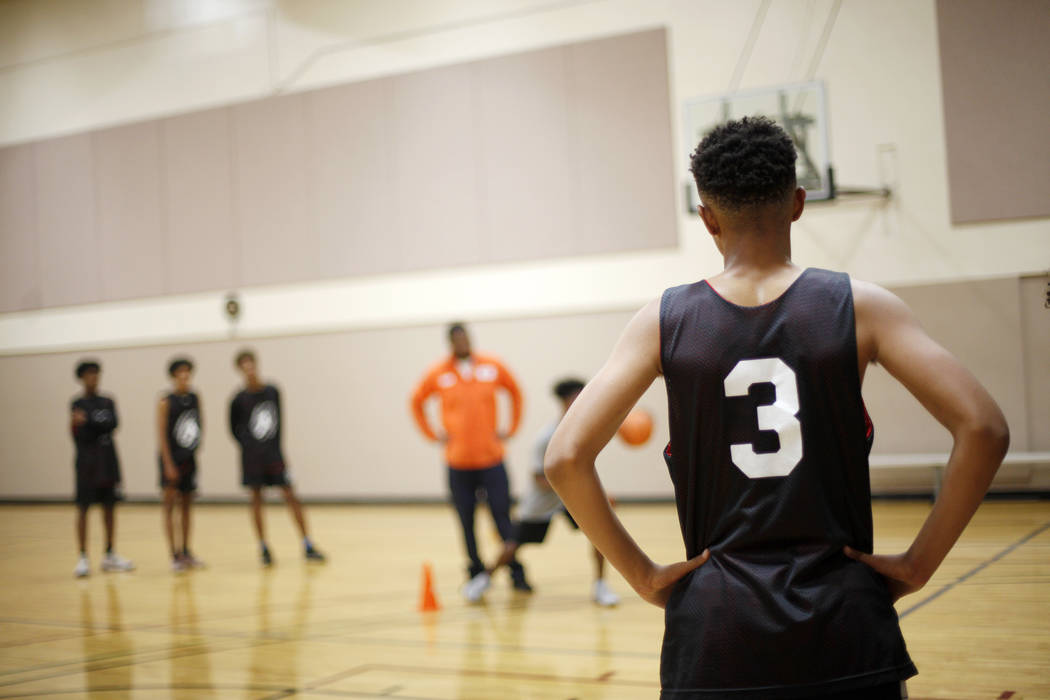 D'Andre Burnett listens to instruction during basketball practice for the LV Stars at the Chuck Minker Sports Complex in Las Vegas, Tuesday, May 8, 2018. Rachel Aston Las Vegas Review-Journal @roo ...