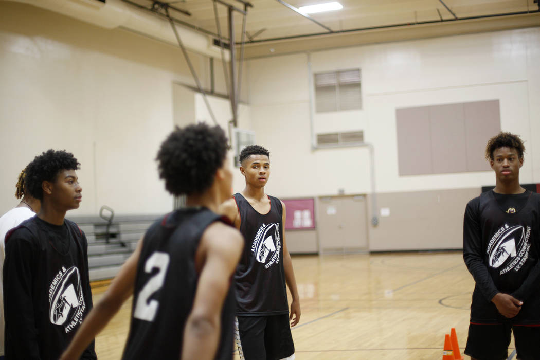 D'Andre Burnett, center, at basketball practice for the LV Stars at the Chuck Minker Sports Complex in Las Vegas, Tuesday, May 8, 2018. Rachel Aston Las Vegas Review-Journal @rookie__rae