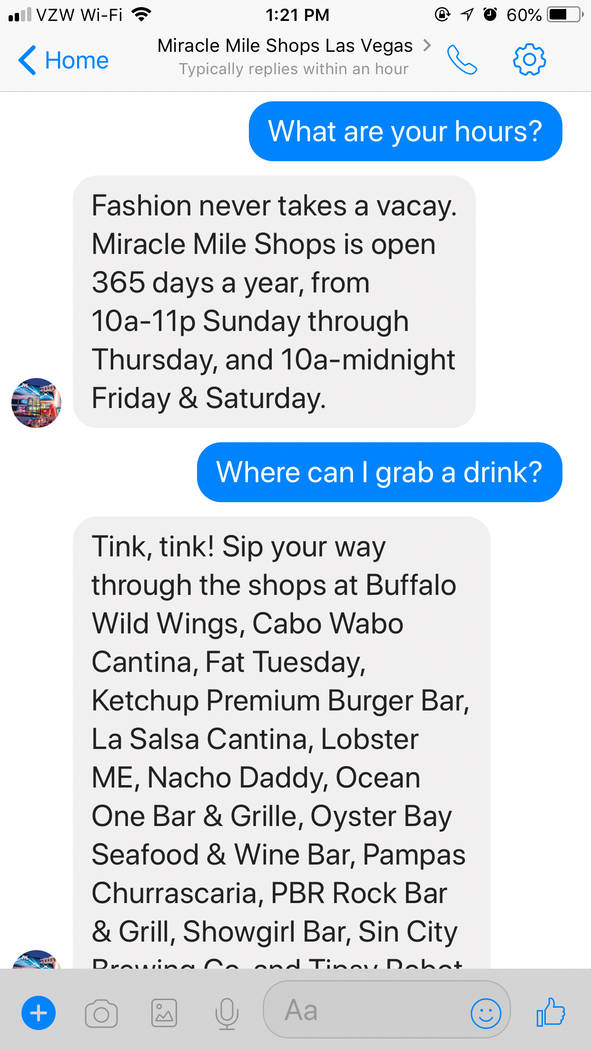 Miracle Mile Shops at Planet Hollywood has added artificial intelligence to its Facebook Messenger account. A computer program called Jules will talk to shoppers about store and food recommendatio ...