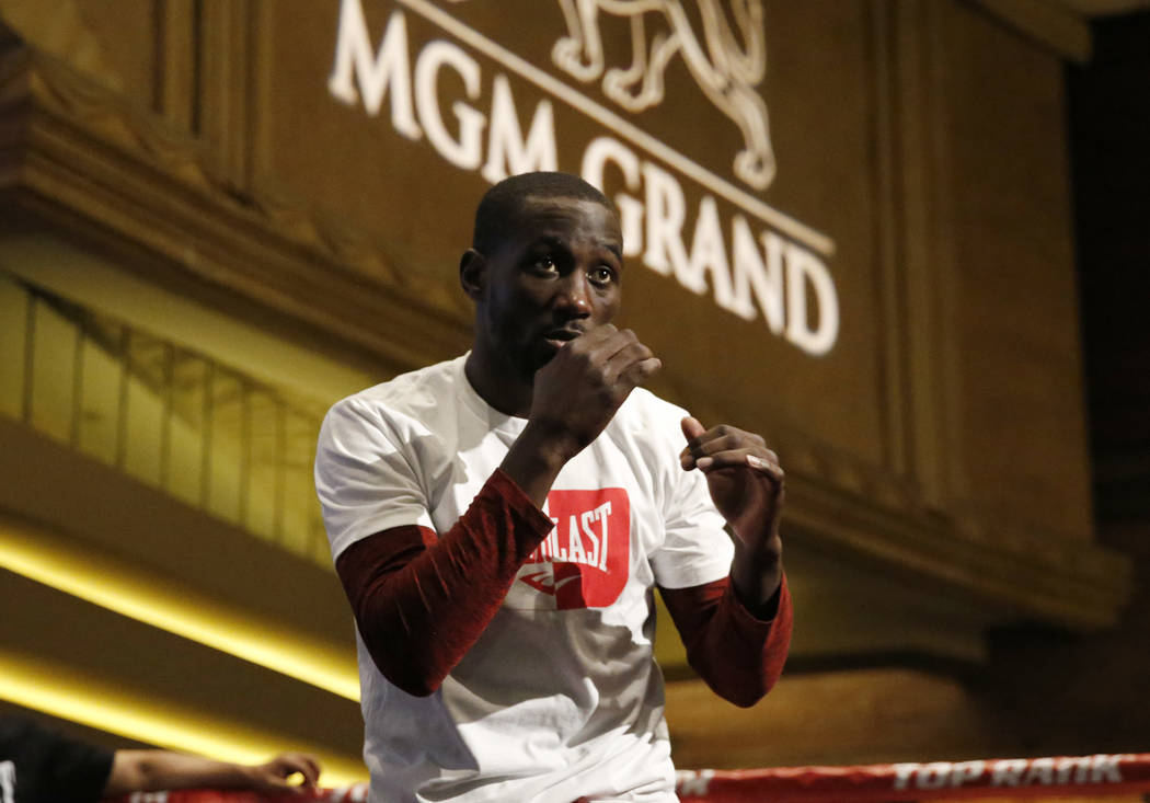 Terence Crawford prepares to throw punches during a media workout at the MGM Grand hotel-casino on Wednesday, June 6, 2018. Bizuayehu Tesfaye/Las Vegas Review-Journal @bizutesfaye