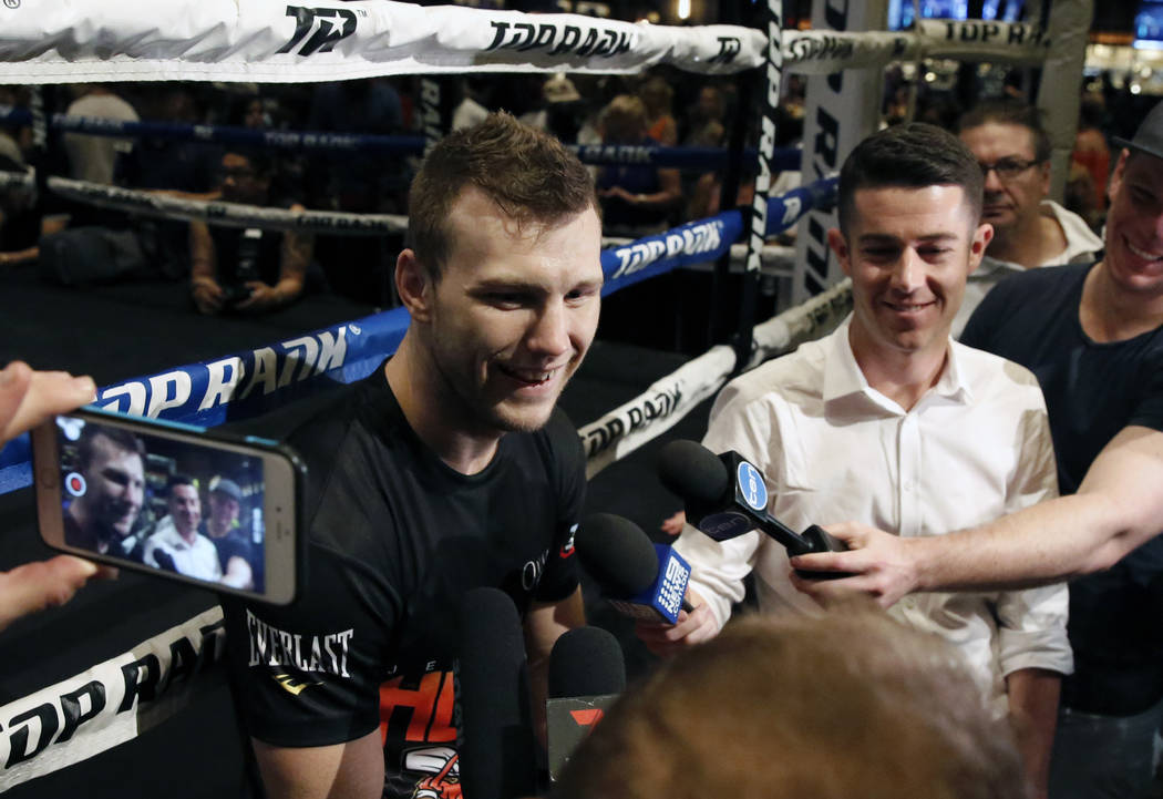 Jeffrey Horn of Australia addresses the media after a media workout at the MGM Grand hotel-casino on Wednesday, June 6, 2018. Bizuayehu Tesfaye/Las Vegas Review-Journal @bizutesfaye