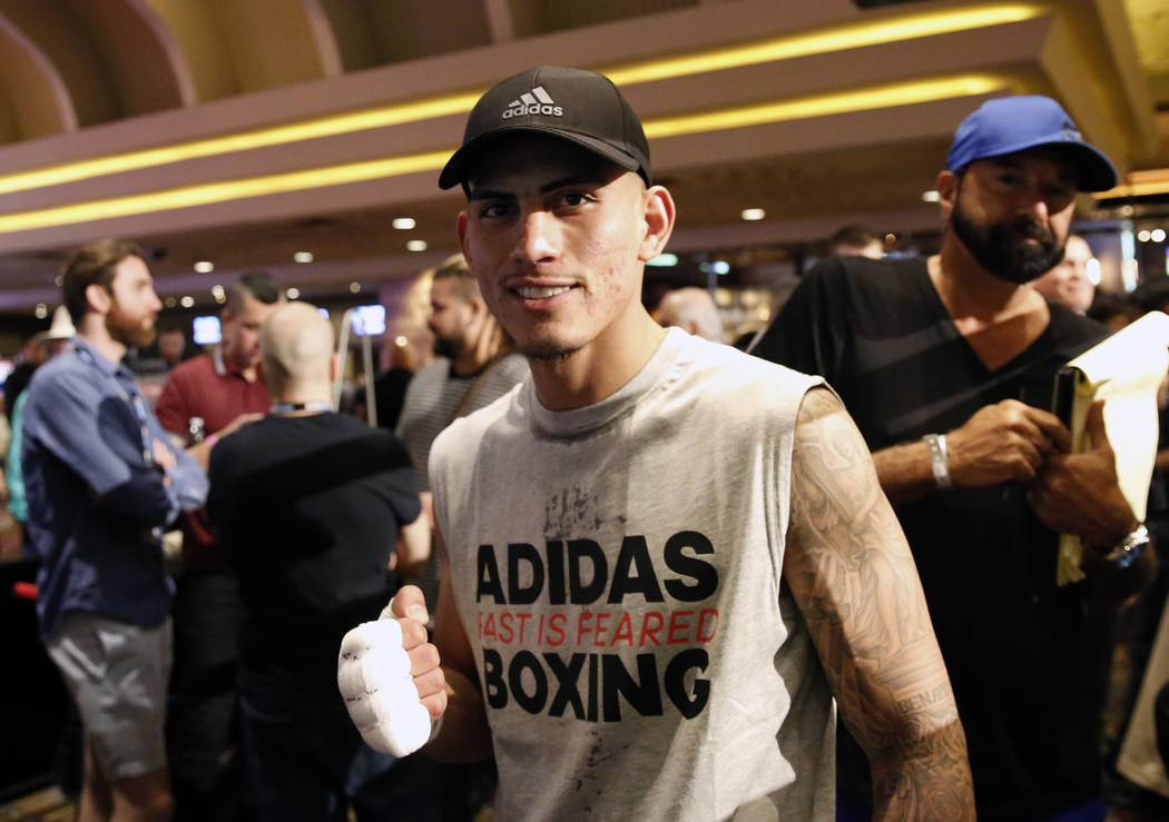 José Benavidez poses for photo after a media workout at the MGM Grand hotel-casino on Wednesday, June 6, 2018. Bizuayehu Tesfaye/Las Vegas Review-Journal @bizutesfaye
