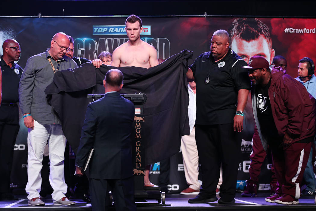 Jeff Horn poses during his official weigh-in at the MGM Grand Garden Arena in Las Vegas, Friday, June 8, 2018. Horn is defending his WBO welterweight title against Terence Crawford Saturday night ...