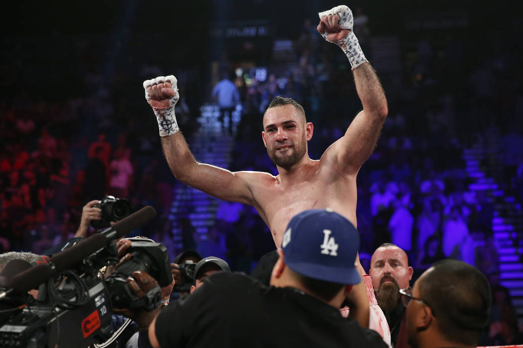 Jose Pedraza celebrates his unanimous decision victory against Antonio Moran in the WBO lightweight Latino Title bout at the MGM Grand Garden Arena in Las Vegas, Saturday, June 9, 2018. Erik Verdu ...