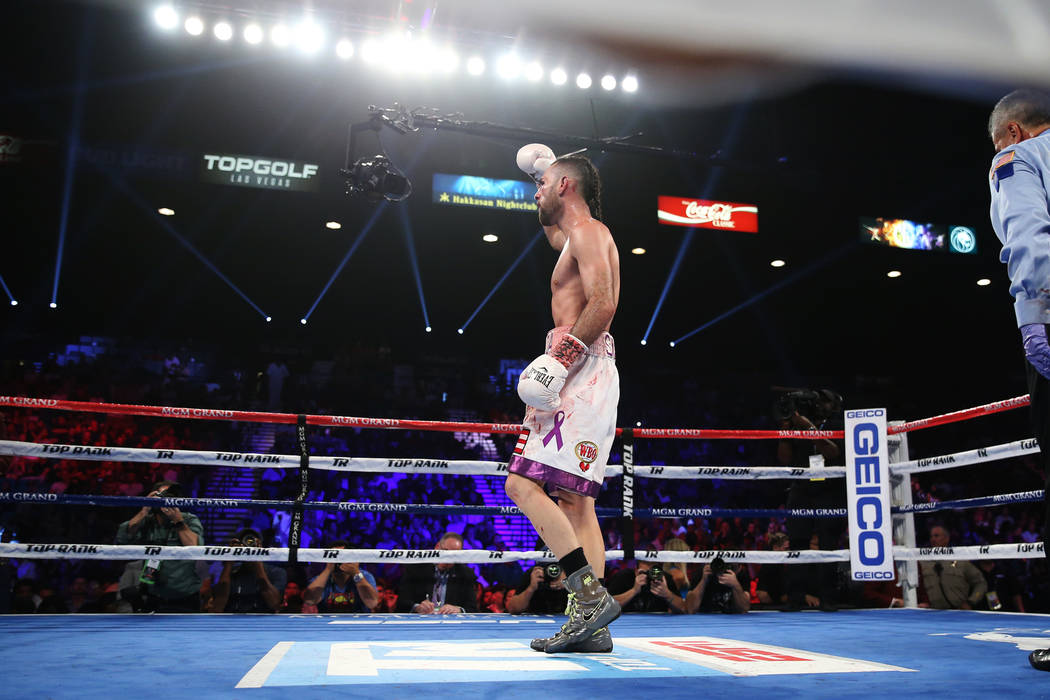 Jose Pedraza reacts after his fight against Antonio Moran in the WBO lightweight Latino Title bout at the MGM Grand Garden Arena in Las Vegas, Saturday, June 9, 2018. Jose Pedraza won by unanimous ...