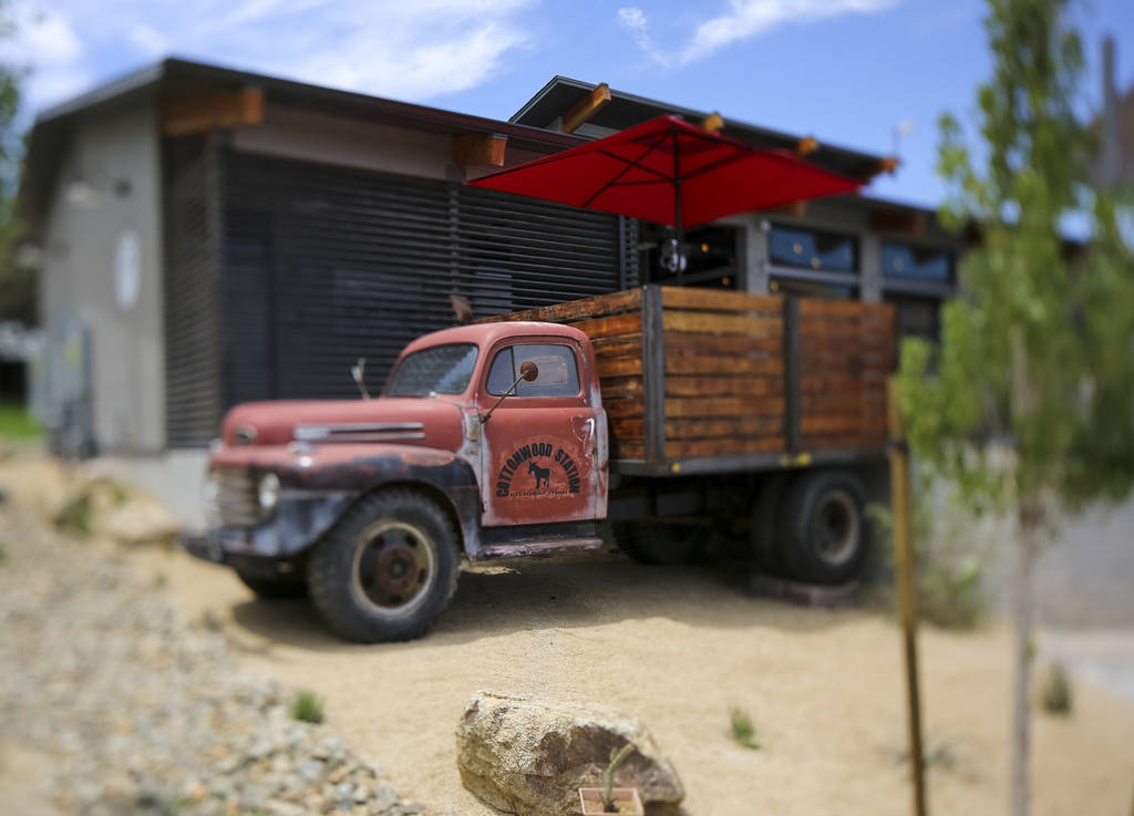 The flatbed of an old pick up truck now serves as an outdoor dining table on the patio at Cottonwood Station in Blue Diamond, on Saturday, June 2, 2018. Richard Brian Las Vegas Review-Journal @veg ...