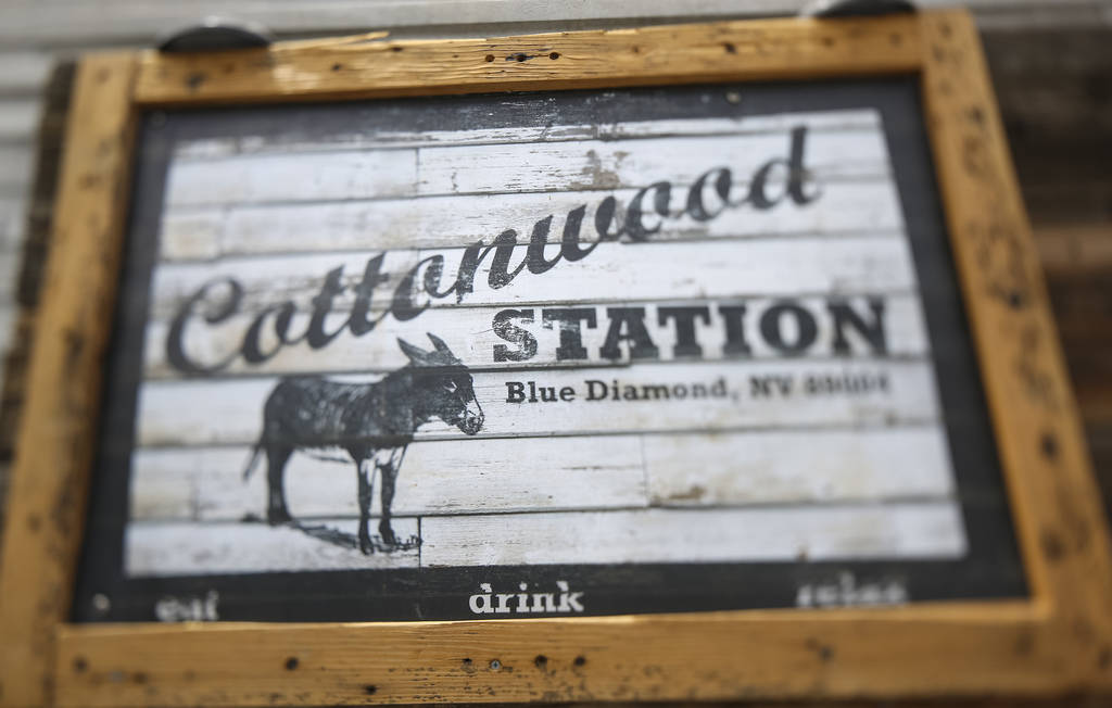 Exterior sign at Cottonwood Station in Blue Diamond, on Saturday, June 2, 2018. Richard Brian Las Vegas Review-Journal @vegasphotograph
