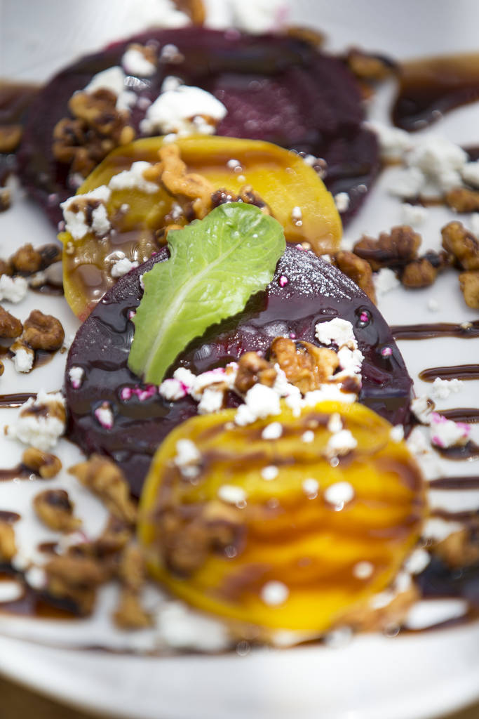 Beet salad with goat cheese and toasted walnuts at Cottonwood Station in Blue Diamond, on Saturday, June 2, 2018. Richard Brian Las Vegas Review-Journal @vegasphotograph
