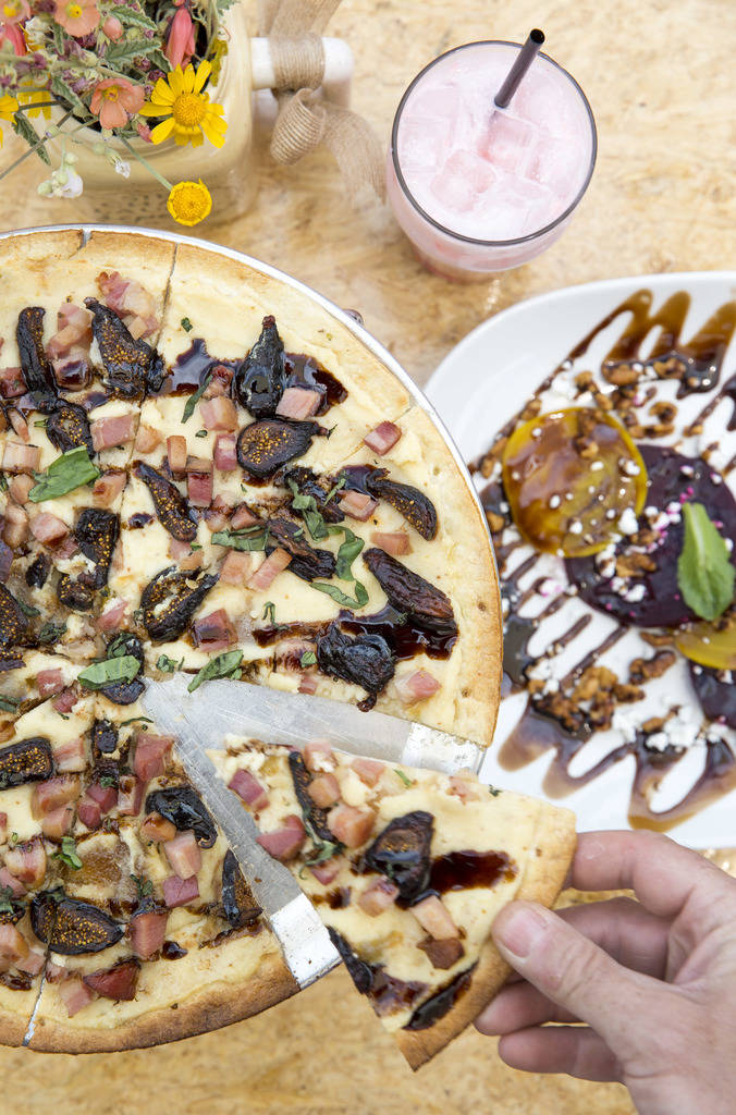 A pancetta, fig and ricotta pizza topped with balsamic drizzle and basil at Cottonwood Station in Blue Diamond, on Saturday, June 2, 2018. Richard Brian Las Vegas Review-Journal @vegasphotograph
