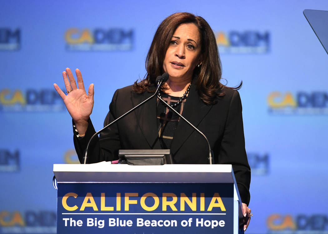 In this Feb. 24, 2018, file photo, Sen. Kamala Harris D-Calif., speaks at the 2018 California Democrats State Convention in San Diego. (AP Photo/Denis Poroy, File)