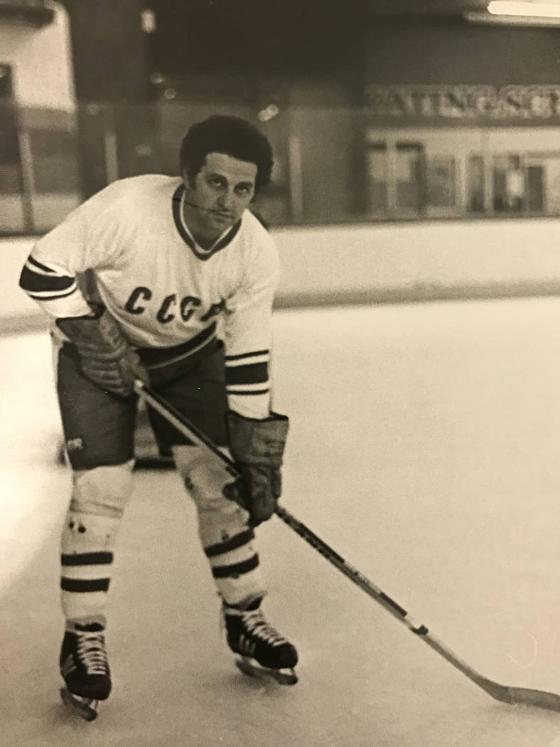Biren on hockey rink prior to playing against a team from the Soviet Union, in Van Nuys, Calif., in 1981. (Courtesy Eddy Biren)