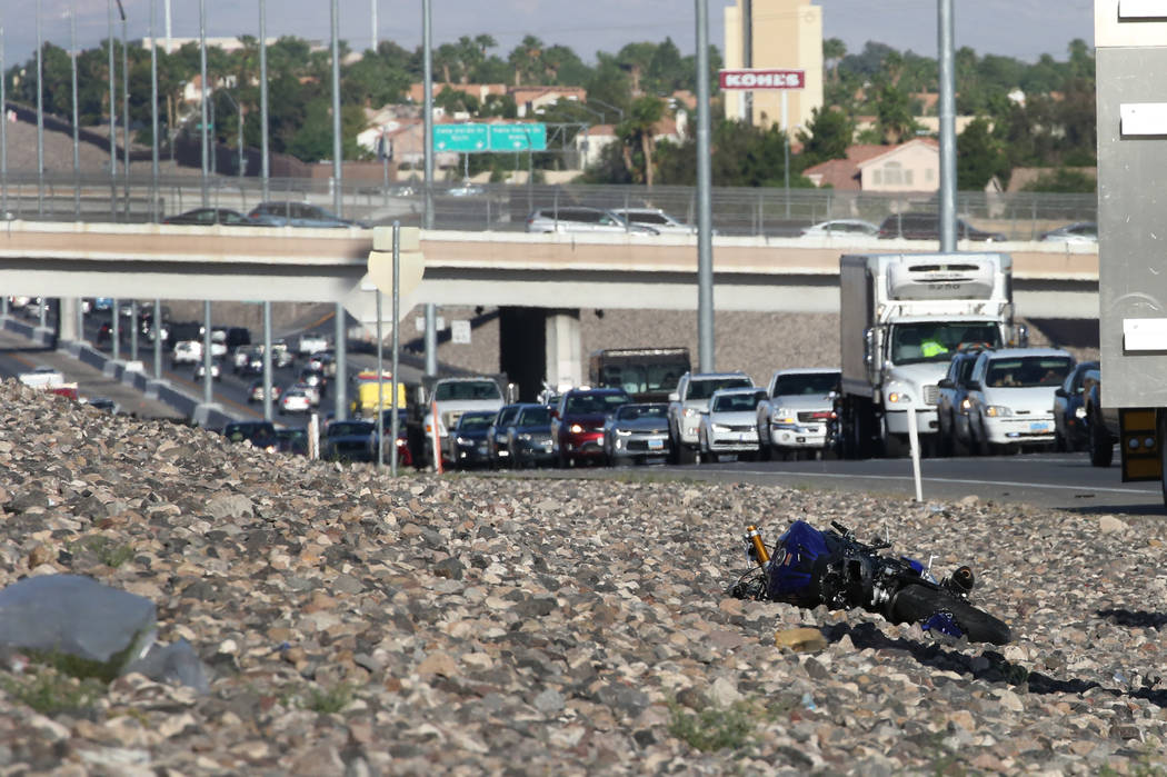 Traffic backed up as the Nevada Highway Patrol investigates a fatal motorcycle crash on eastbound 215 Beltway near Stephanie Street in Henderson on Friday, June 1, 2018. (Bizuayehu Tesfaye/Las Veg ...