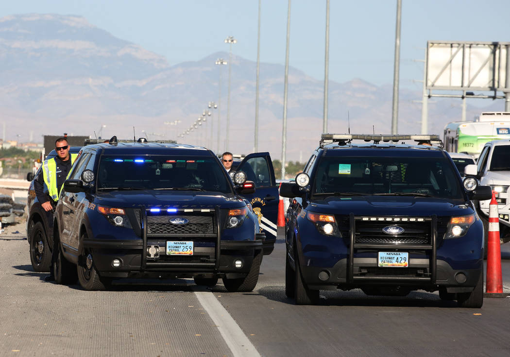 The Nevada Highway Patrol investigates a fatal motorcycle crash on eastbound 215 Beltway near Stephanie Street in Henderson on Friday, June 1, 2018. (Bizuayehu Tesfaye/Las Vegas Review-Journal) @b ...