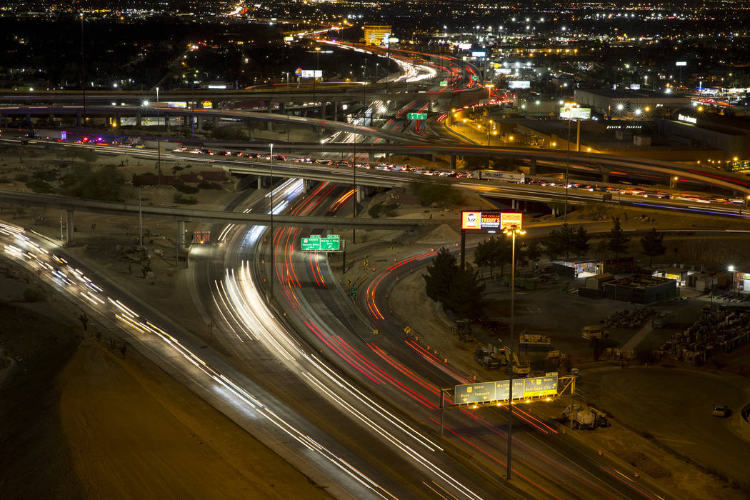 Vehicles travel through the Spaghetti Bowl freeway interchange during rush hour traffic in Las Vegas on Friday, Feb. 9, 2018. Richard Brian Las Vegas Review-Journal @vegasphotograph