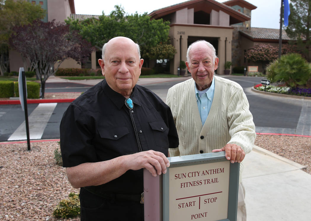 Bob Frank, left, and Tim Stebbins outside the Sun City Anthem Center on Tuesday, May 1, 2018, in Henderson. Bizuayehu Tesfaye/Las Vegas Review-Journal @bizutesfaye