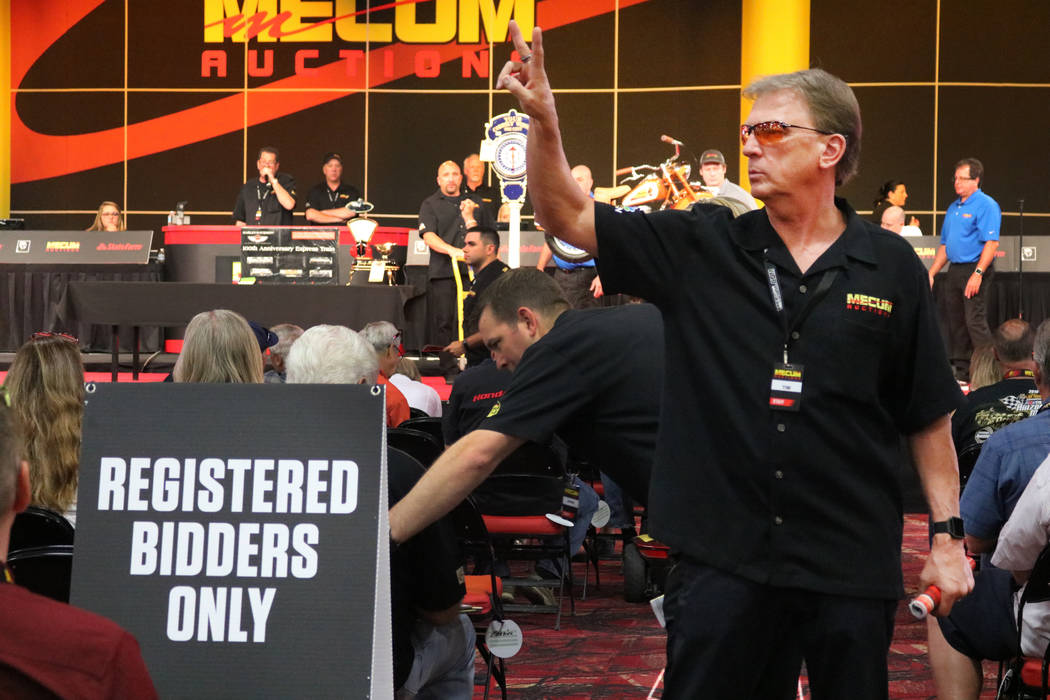 A bettor's assistant looks for bids at Mecum Las Vegas Motorcycle Auctions at South Point Casino in Las Vegas, Friday, June 1, 2018. Madelyn Reese/Las Vegas Review-Journal
