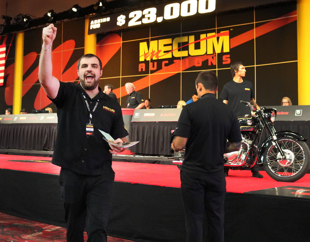 Bettor's assistant Alex McGlothlen looks for bids at Mecum Las Vegas Motorcycle Auction at South Point in Las Vegas, Friday, June 1, 2018. Madelyn Reese/Las Vegas Review-Journal