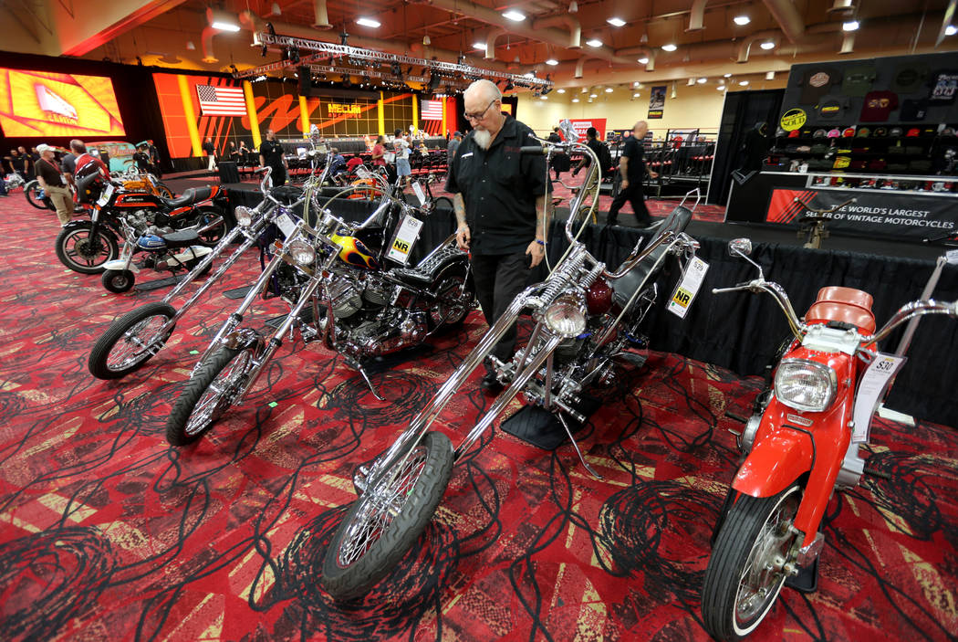Stormy Stormoen of Las Vegas check out choppers during the Mecum Las Vegas Motorcycle Auction at the South Point Friday, June 1, 2018. K.M. Cannon Las Vegas Review-Journal @KMCannonPhoto