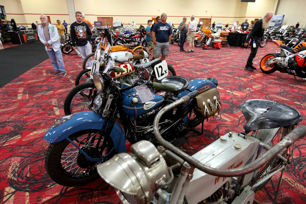 People check out lots during the Mecum Las Vegas Motorcycle Auction at the South Point Friday, June 1, 2018. K.M. Cannon Las Vegas Review-Journal @KMCannonPhoto