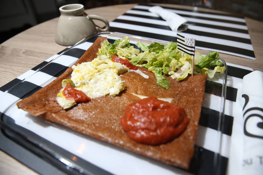 La Red Rock galette served with swiss cheese, ham, cooked tomatoes, and creamy leeks, at The Real Crepe, 7595 W. Washington Ave., in Las Vegas, Tuesday, June 5, 2018. Erik Verduzco Las Vegas Revie ...