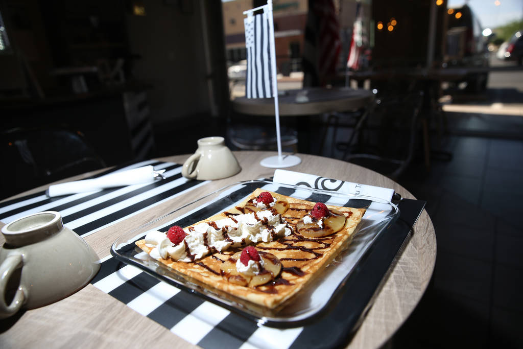 A crepe served with cooked pineapples, salted caramel, raspberries, and whipped cream, at The Real Crepe, 7595 W. Washington Ave., in Las Vegas, Tuesday, June 5, 2018. Erik Verduzco Las Vegas Revi ...