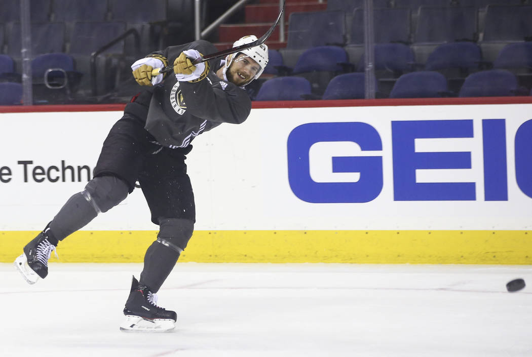 Golden Knights defenseman Shea Theodore (27) shoots during practice at Capital One Arena in Washington on Friday, June 1, 2018. The Golden Knights are slated to face the Washington Capitals in Gam ...