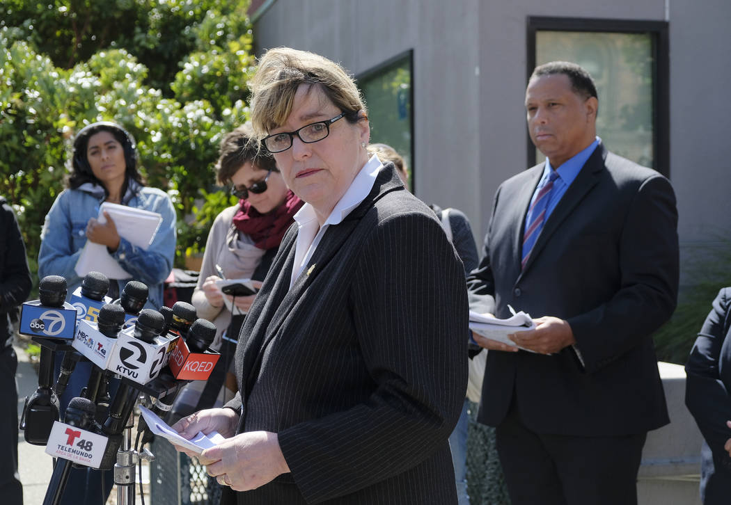 San Francisco Sheriff Vicki Hennessy makes a statement about a woman who was found dead Wednesday in a stairwell of a power plant, during a news conference outside Zuckerberg San Francisco General ...