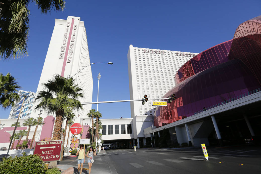 The Circus Circus is seen in Las Vegas, Friday, June 1, 2018. Las Vegas police are investigating the deaths of two people inside a Circus Circus hotel room Friday evening. Chitose Suzuki Las Vega ...