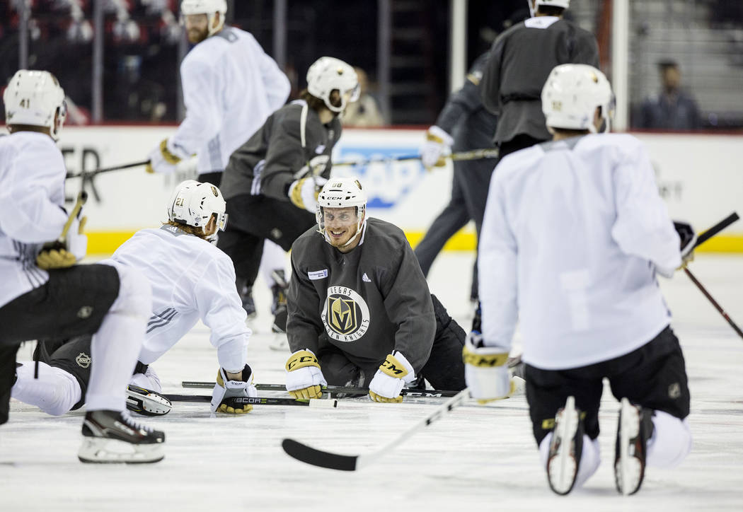 Golden Knights center Jonathan Marchessault (81) jokes around with teammates during practice leading up to Game 3 of the NHL Stanley Cup Final with the Washington Capitals on Saturday, June 2, 201 ...