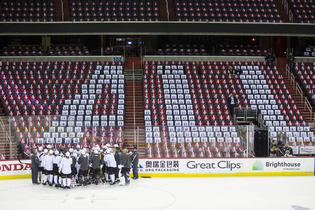 Golden Knights players gather during practice ahead of Game 3 of the Stanley Cup Final against the Washington Capitals at Capital One Arena in Washington on Saturday, June 2, 2018. Chase Stevens L ...