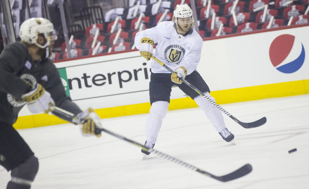 Golden Knights center William Karlsson (71) shoots the puck during practice ahead of Game 3 of the Stanley Cup Final against the Washington Capitals at Capital One Arena in Washington on Saturday, ...