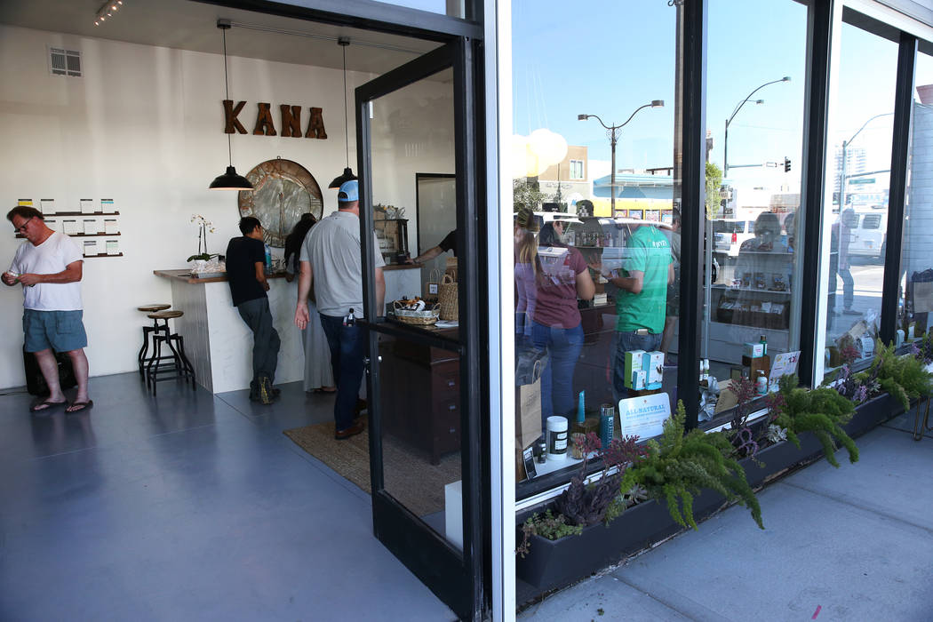 People browse the newly opened KANA Modern Apothecary hemp shop in downtown Las Vegas, Friday, June 1, 2018. Erik Verduzco Las Vegas Review-Journal @Erik_Verduzco